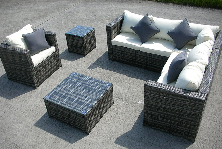 6-Seater Rattan Outdoor Furniture Set – 2 Colours! for £399.00