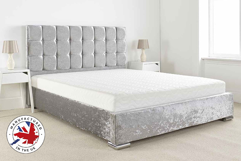 Crushed Velvet Glamour Bed Frame with Mattress Options - 3 Colours!