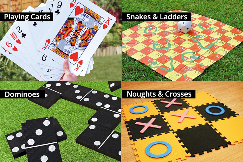 Image of From £7.99 (from Zoozio) for a giant garden game - choose from 2 in 1 snakes & ladders & tangled, giant playing cards, dominoes and noughts & crosses - save up to 53%