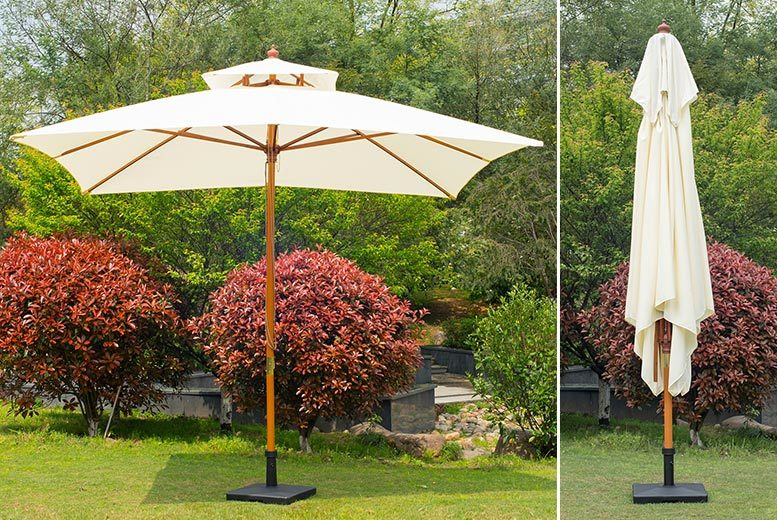 Double Tier Beige Parasol – 2 Sizes! from £49.00