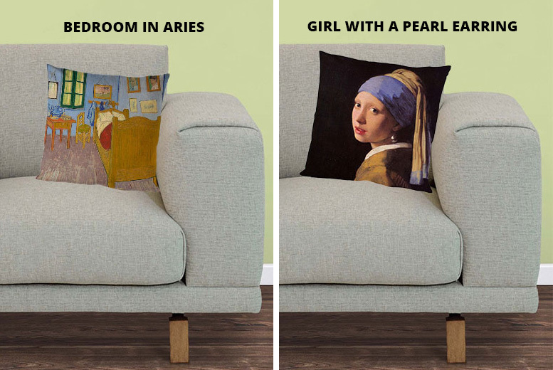 Classic Art Cushions – 2 Sizes & 8 Designs! from £7.99