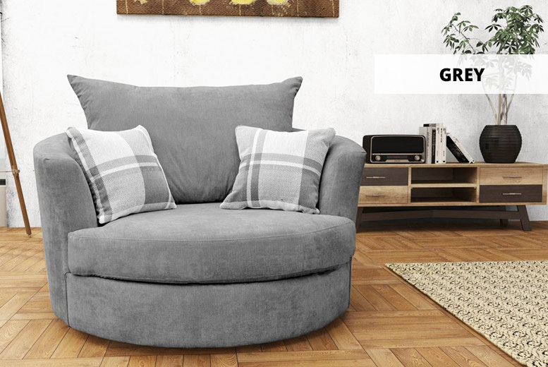 Fabric or Crushed Velvet Swivel Snuggle Chair – 10 Colours! from £299.00