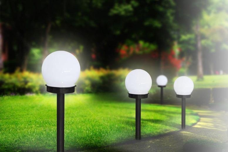 4 Solar-Powered White Garden Globes for £8.99