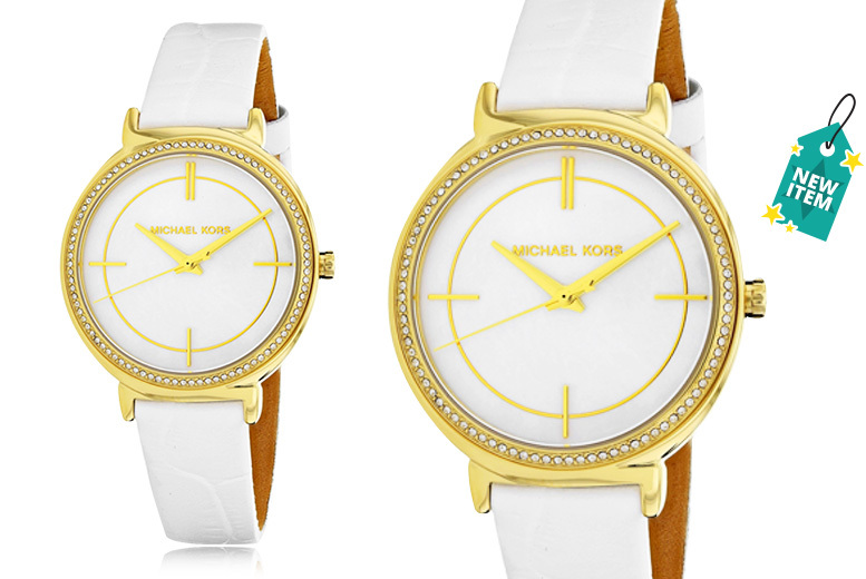 Michael Kors MK2662 White Leather Strap Stainless Steel Ladies Watch