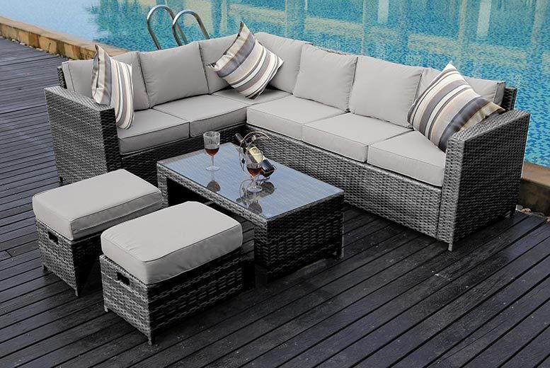 8-Seat L-Shaped Rattan Sofa Set with Rain Cover Option – 3 Colours! from £479.00