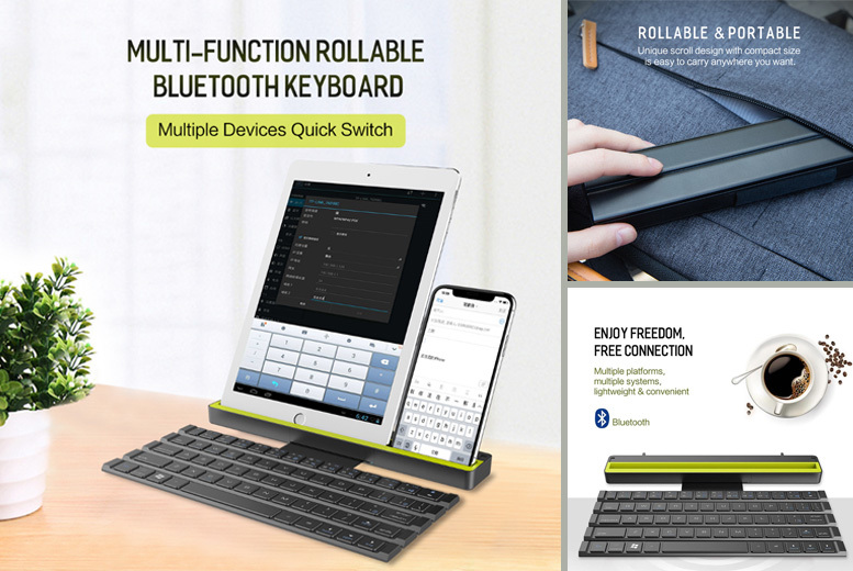 Foldable Wireless iPad & iPhone Keyboard – 3 Devices Simultaneously! for £34.00