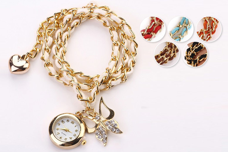 Butterfly Crystal Wrap Watch - 6 Colours!