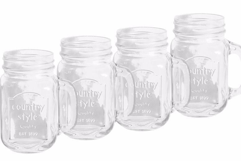 4pk Glass Mason Jar Mugs for £4.99
