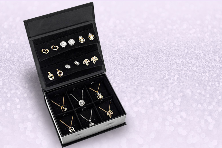 Black Jewellery Box with 6 Pairs of Stud Earrings & Pendants for £16.00