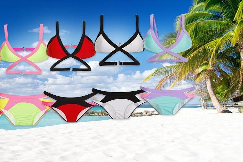 Triangle Cut out Bikini – 4 Colours & UK Sizes 6-14! for £4.99