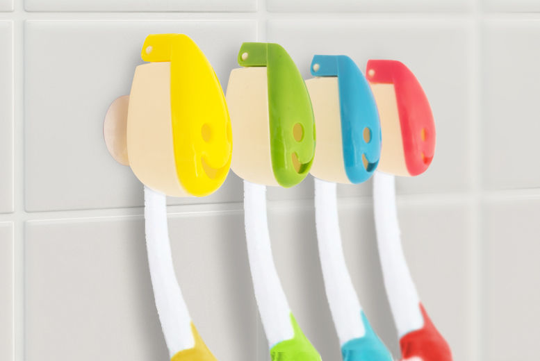 4pk Smiley Face Toothbrush Holders