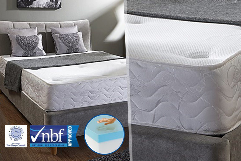 £69 for a single handmade Cooling tufted Bonnell spring mattress, £89 for a double or small double, or £99 for a king size - save up to 86%