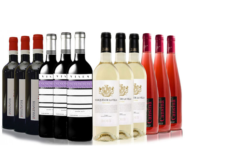 £34.99 (from San Jamón) for a 12-bottle summer wine hamper - choose red wine, white and rosé wine, or a mix of red, rosé & white wine and save up to 63%