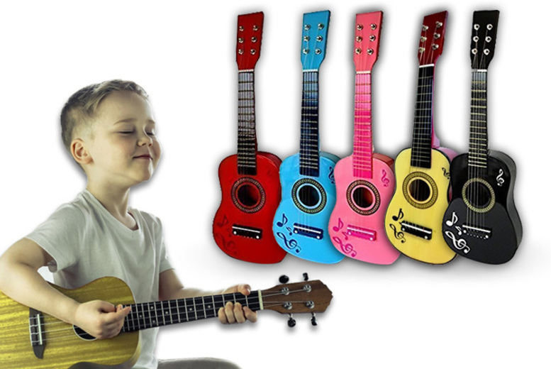 Children's Wooden Acoustic Guitar – 2 Colours! for £9.99