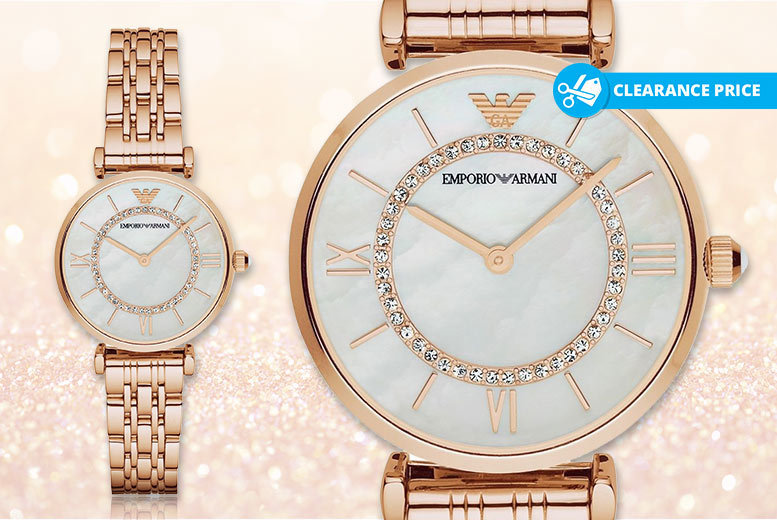 Ladies' Armani AR1909 Rose Gold & Mother of Pearl Dial Watch for £119.00