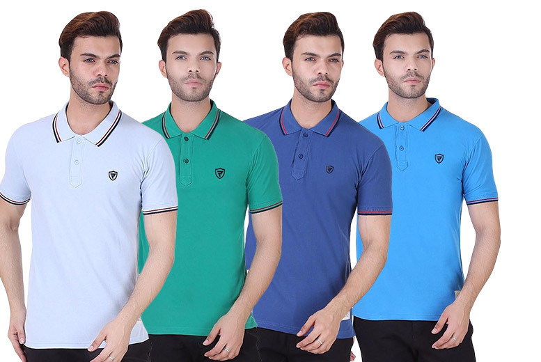 Men's Realm Tipped Polo Shirt – 7 Colours & 4 Sizes! for £7.99