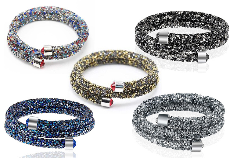 Double Wrap Crystal Bracelet – 5 Colours! from £5.99