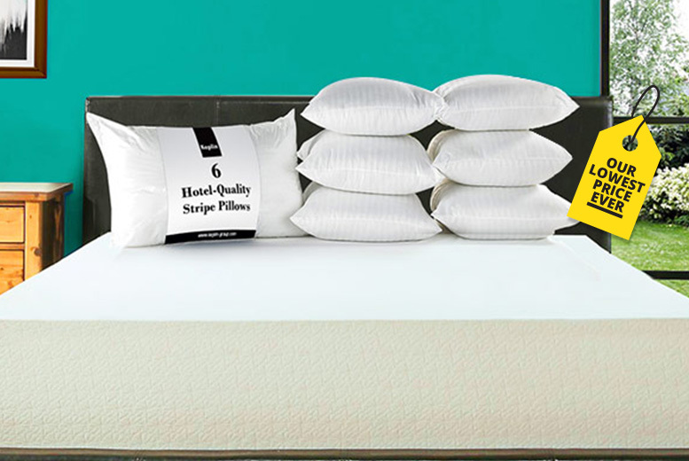 6 Hotel-Quality Stripe Pillows for £12.99
