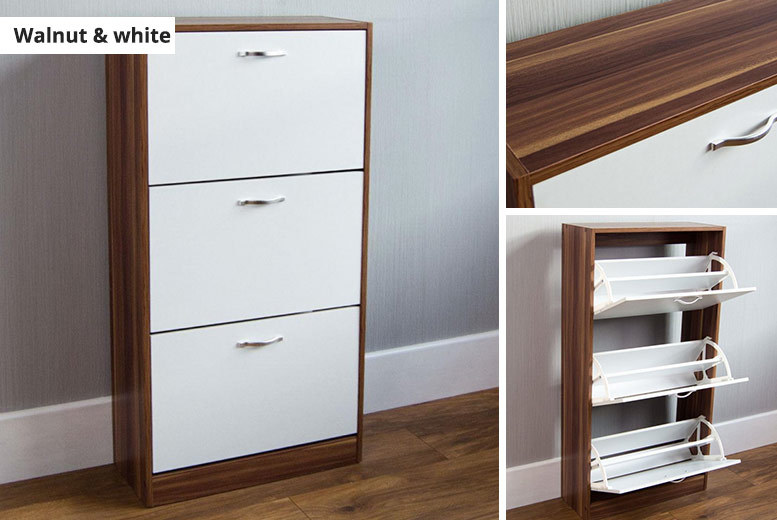 2 or 3-Door Shoe Cabinet – 4 Colours! from £29.00