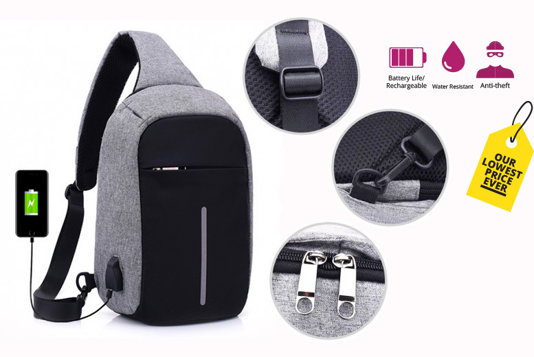 Anti-Theft Shoulder Bag with Charging Port – 4 Colours! for £7.99
