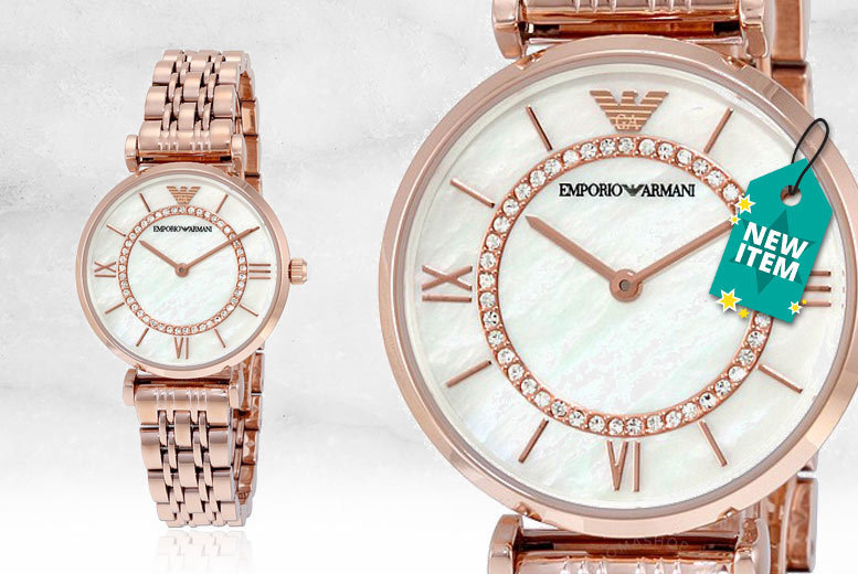 Ladies' Armani AR1909 Gold T-Bar & Mother of Pearl Dial Watch for £119.00