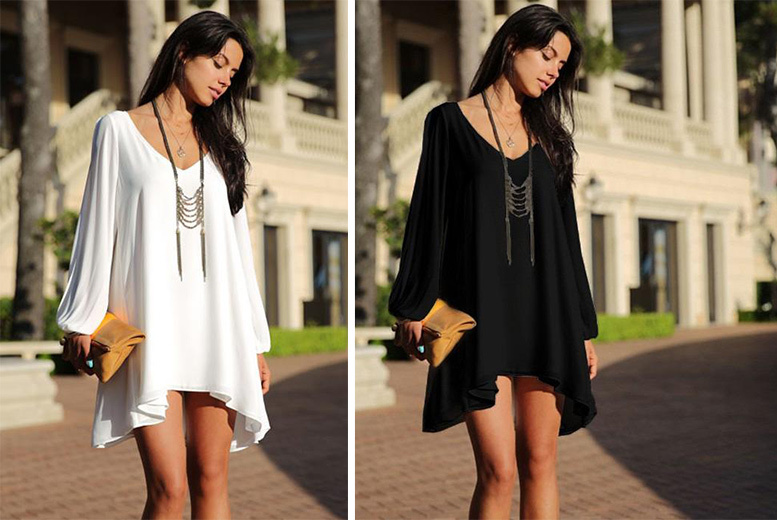 St Tropez Open Shoulder Mini Dress – 2 Colours & Sizes 8-14! for £12.00