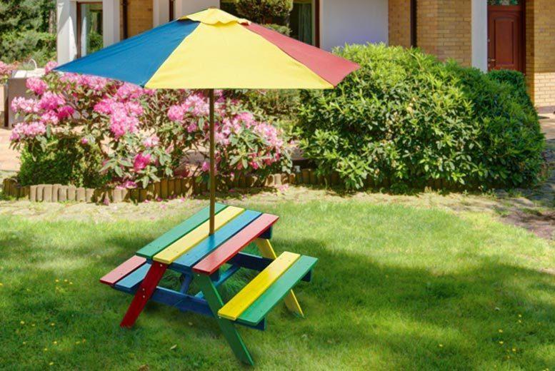 Children's Rainbow Picnic Bench & Parasol for £29.00