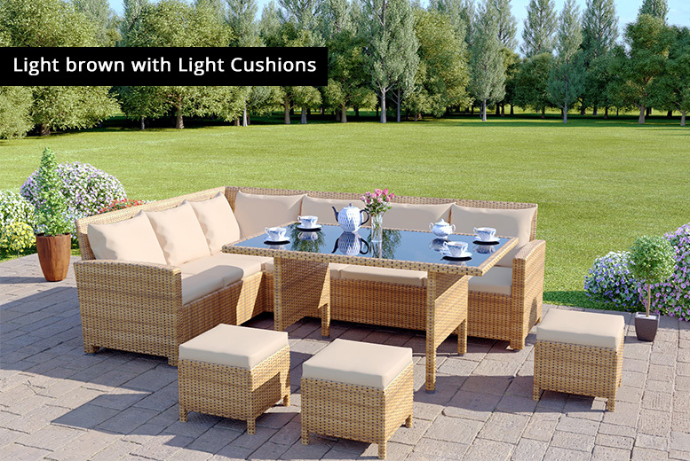 9-Seater Rattan Garden Corner Sofa & Table Set – Cover Included! for £499.00