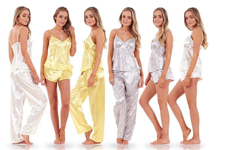 Ladies' 3pc Satin Pyjama Set - 3 Colours, Sizes 10-20!