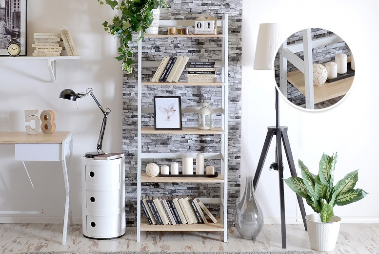 Scandinavian-Style Ladder Bookcase Display Tower for £79.00