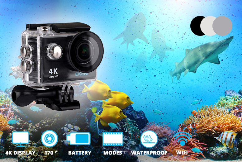 4K Ultra HD Wide Angle Action Camera, Mount Bundle – 3 Colours! for £29.00
