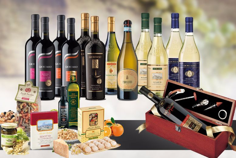 £59 (from Giordano Wines) for a 13-bottle Italian wine and food hamper - eat, drink and be merry + DELIVERY INCLUDED!
