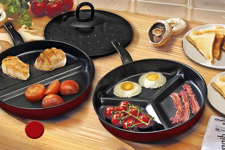 £9.99 instead of £29.99 (from Groundlevel) for a red three-piece non-stick divider frying pan set - save 67%