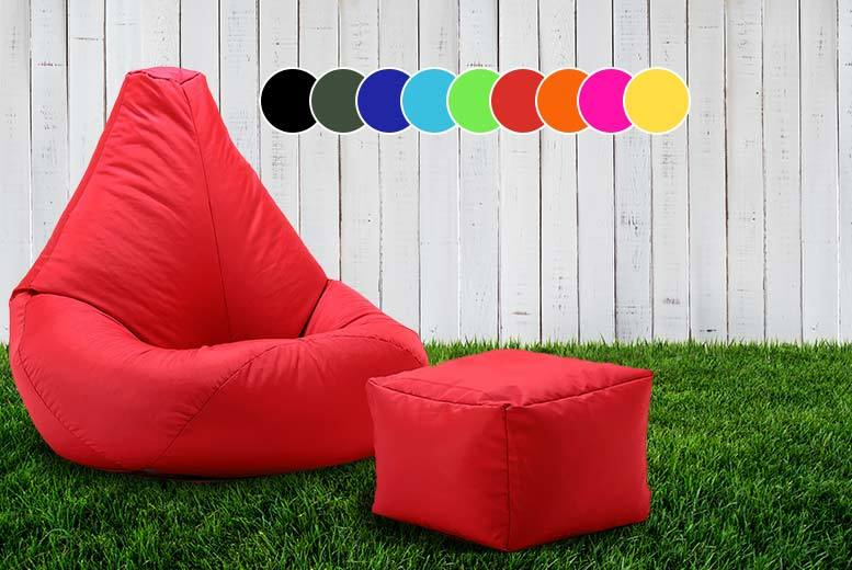 £28 instead of £99 (from UK Beanbags) for a highback beanbag with matching footstool, perfect for indoors and outdoors - choose from 10 bright colours and save 72%