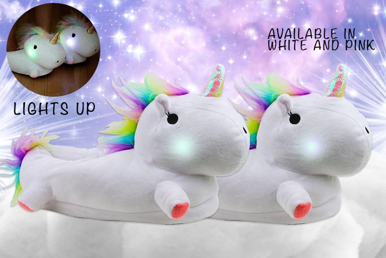 LED Light-Up Unicorn Slippers – 2 Colours! for £12.00