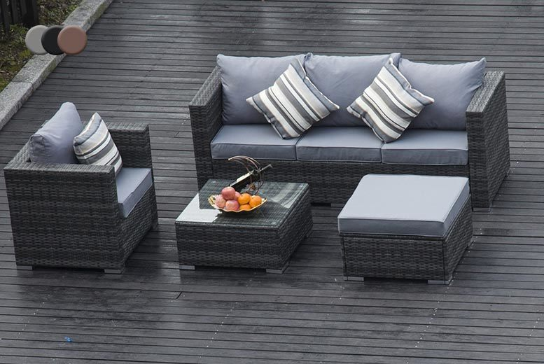 5-Seater Monaco Rattan Sofa Set with Optional Rain Cover – 3 Colours! from £309.00