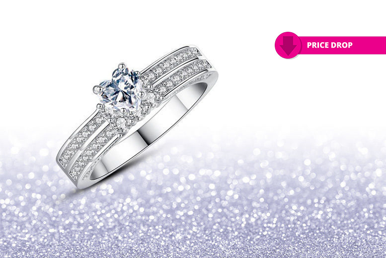 2.0 Carat Created Sapphire & Diamond Simulants Ring for £9.99