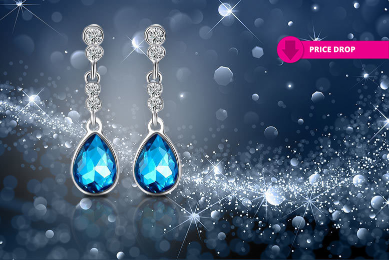 Blue Crystal Drop Earrings for £5.99