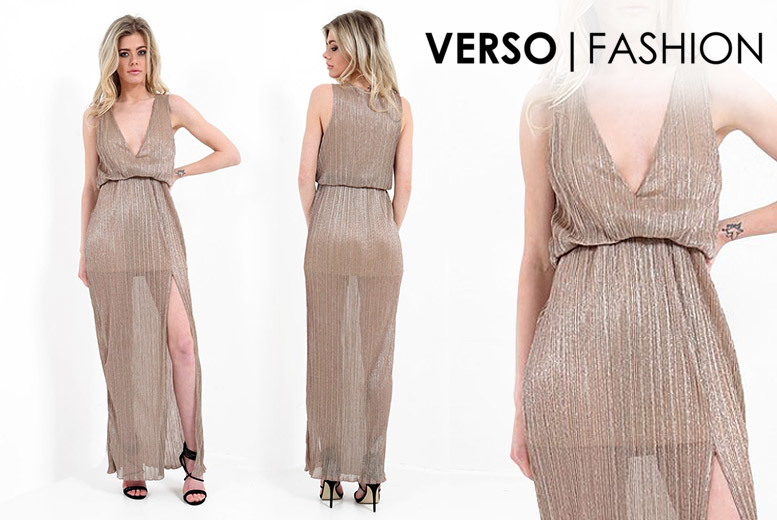Pleated Maxi Dress – 2 Colours & 4 Sizes! for £16.00