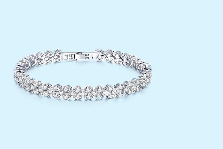 Multi-Link Crystal Tennis Bracelet for £14.00
