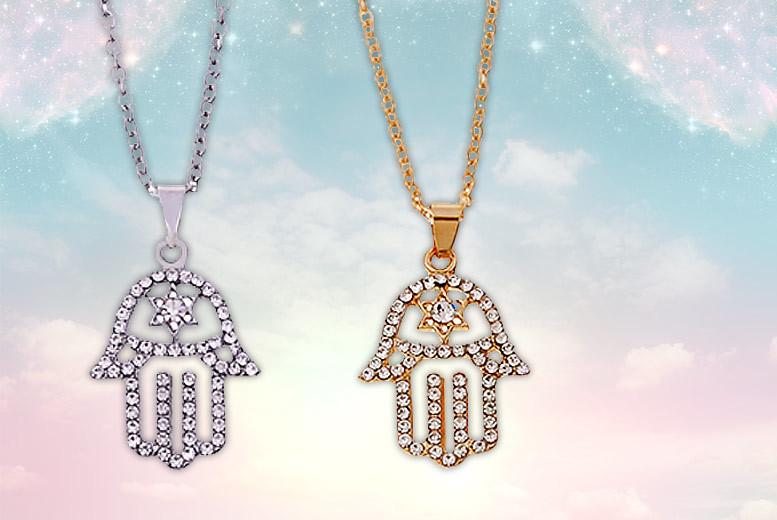 Hamsa Hand Crystal Pendant - 2 Colours!