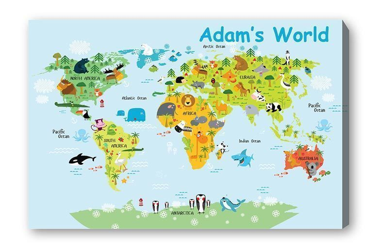 Personalised Kids World Map Canvas for £6.99