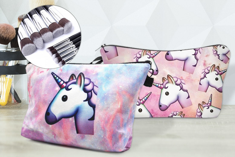 Unicorn Makeup Bag & Brush Set – 12 Options! for £7.99
