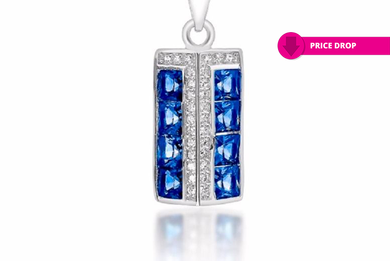 Simulated Blue Sapphire Pendant for £11.99