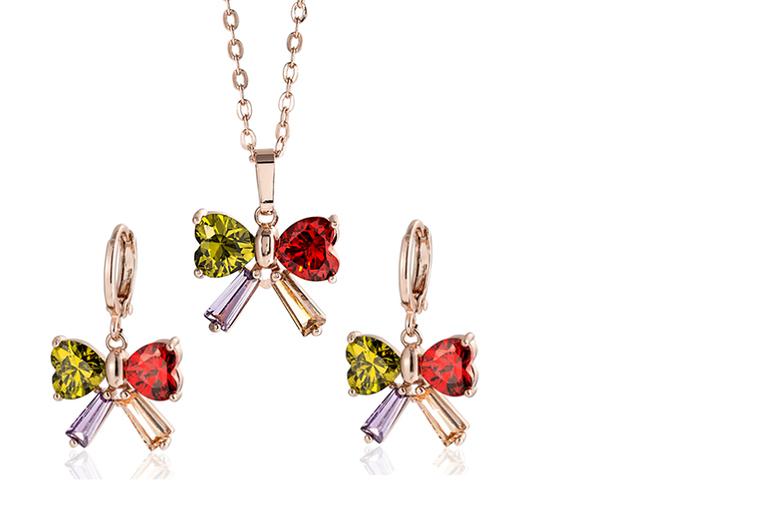 Multi-Colour Cubic Zirconia Pendant & Earring Set for £12.99