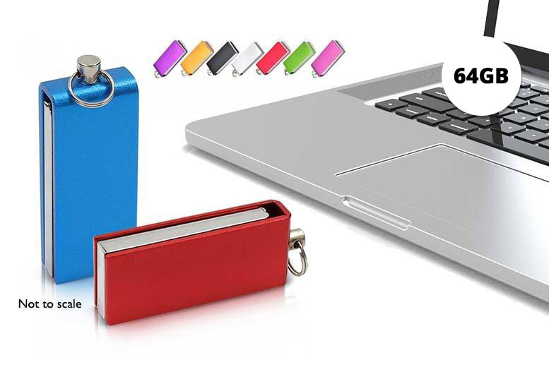 64GB Swivel USB Stick Keyring – 8 Colours! for £5.99