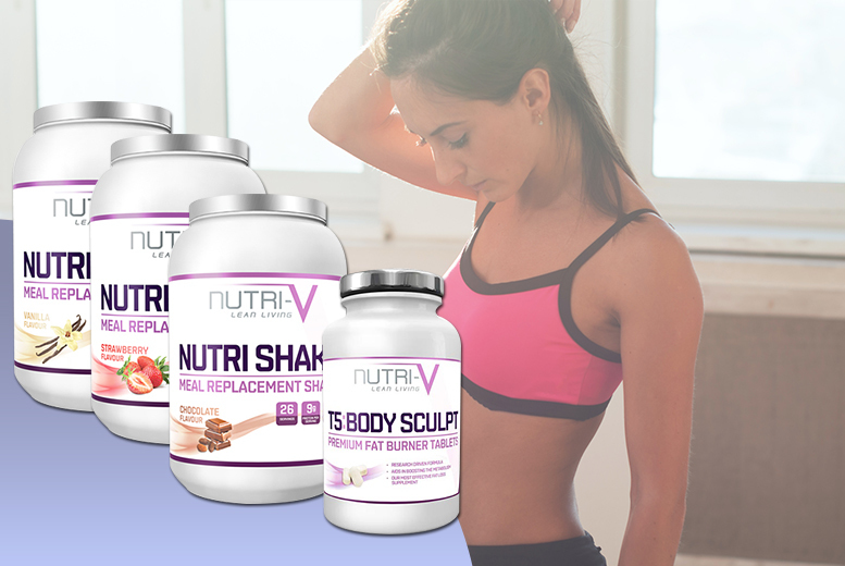 £17 (from Nutri-V) for 900g Nutri-V meal replacement shake powder and 60 T5 'fat burner' tablets - choose from vanilla, chocolate and strawberry flavours - save 72%