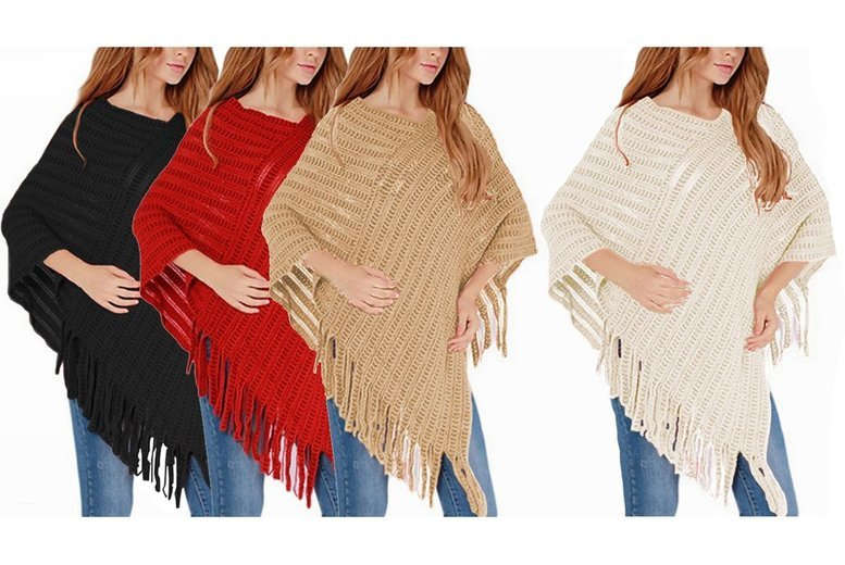 Knitted Poncho – 4 Colours! from £8.99