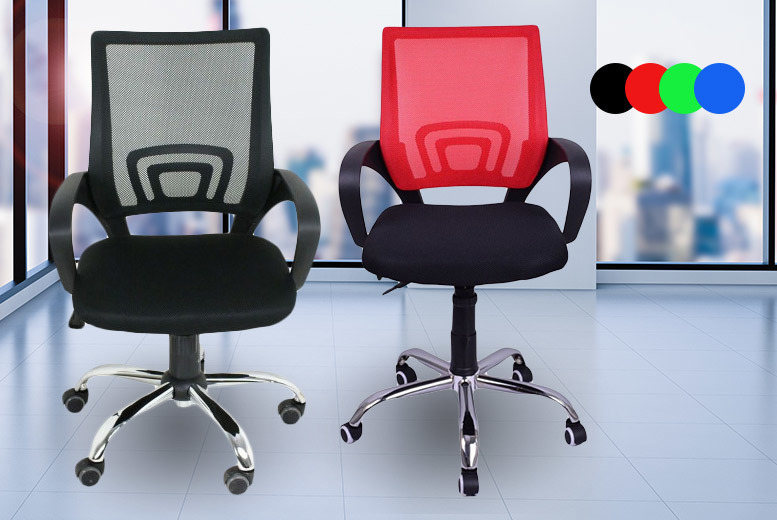 2 Adjustable Mesh Office Chairs – 4 Colours! for £49.00