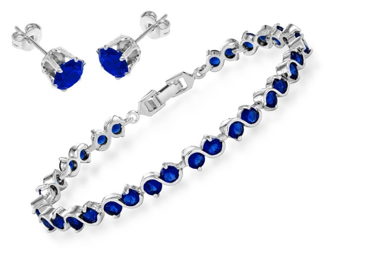 Crystal Linked Bracelet & Stud Earrings Set for £15.99